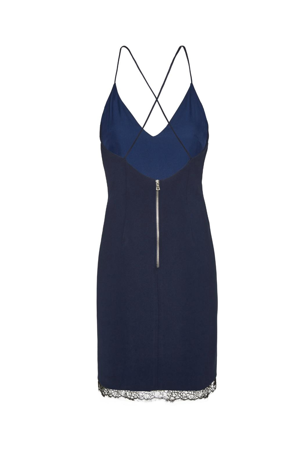 Alice + Olivia Navy Sleeveless Sheath Dress - Back Cropped Image
