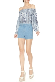 Alice + Olivia Blue Printed Boho Blouse - Front cropped