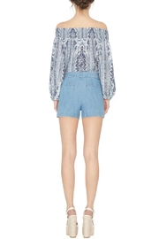 Alice + Olivia Blue Printed Boho Blouse - Front full body