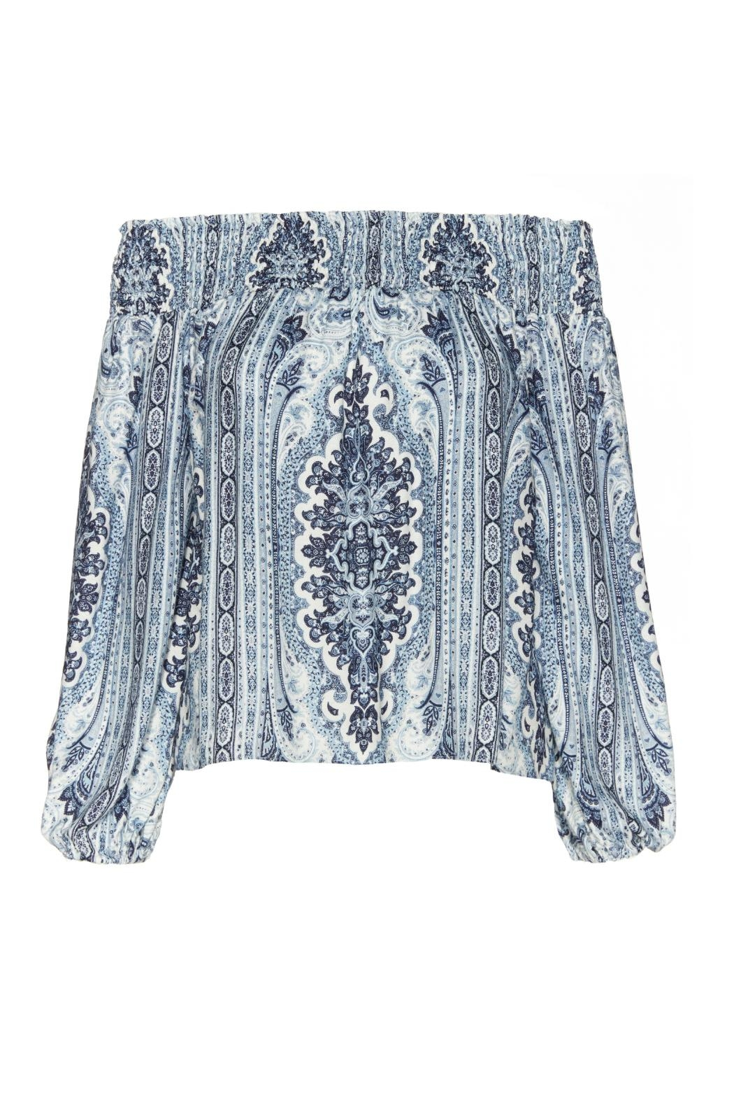 Alice + Olivia Blue Printed Boho Blouse - Side Cropped Image