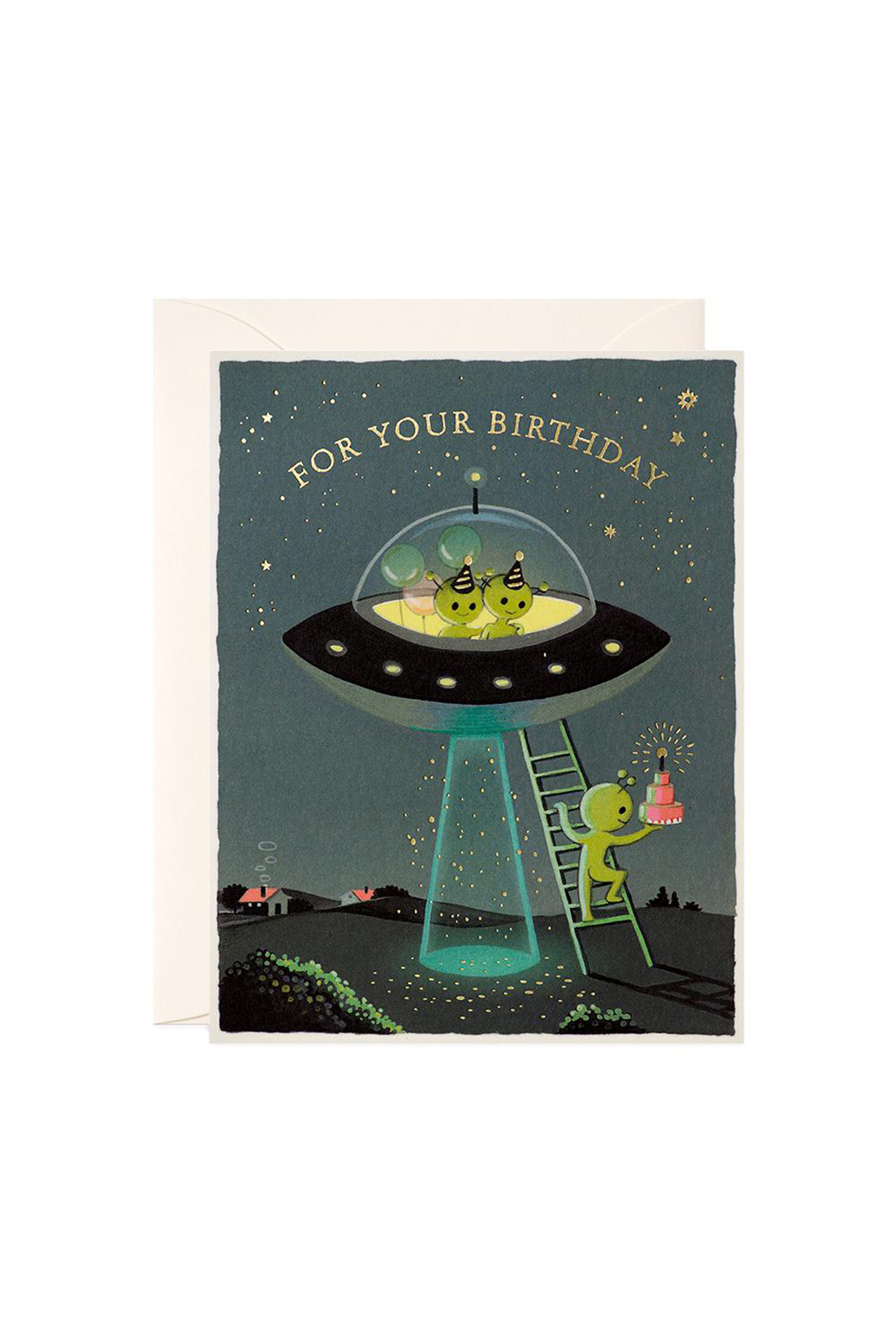 JooJoo Paper Aliens Birthday Card - Front Cropped Image