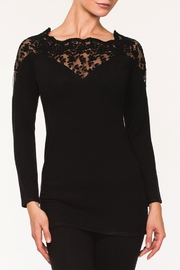 Alison Sheri Black Lace Sweater - Front cropped