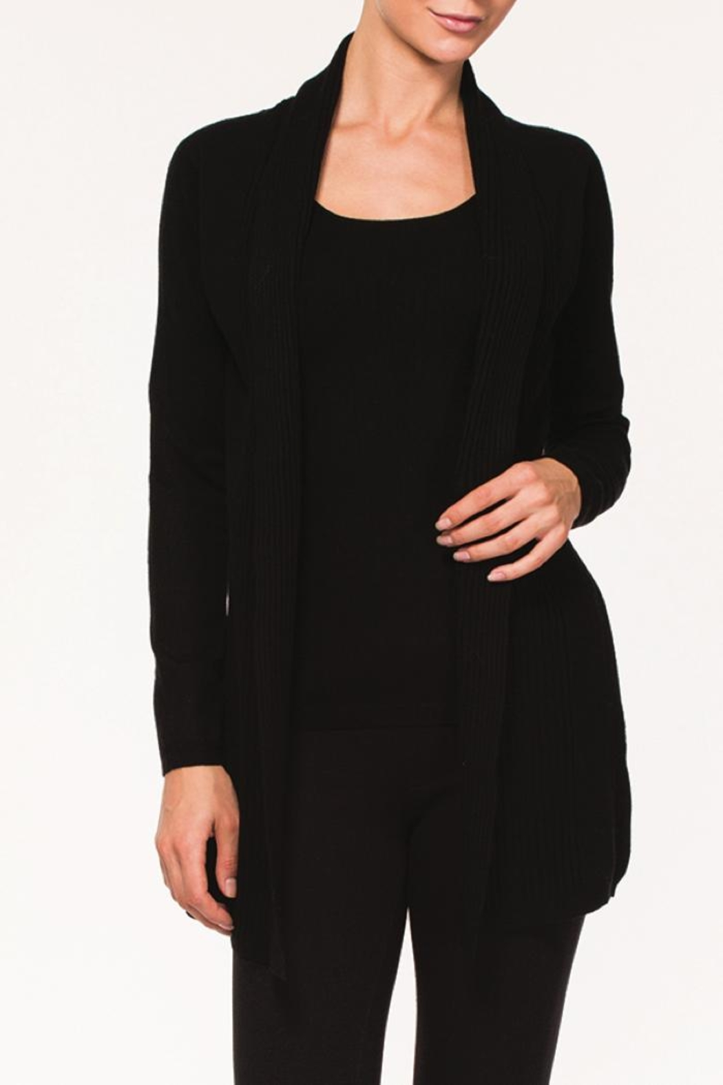 Alison Sheri Black Two-Fer Cardigan - Front Cropped Image