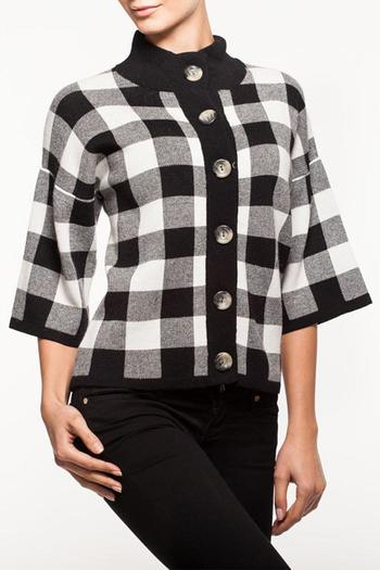 Alison Sheri Black And White Checkered Sweater From Washington By