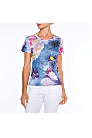 Alison Sheri Blue Floral Tee - Front cropped