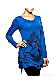 Alison Sheri Blue Sweater Tunic - Front cropped