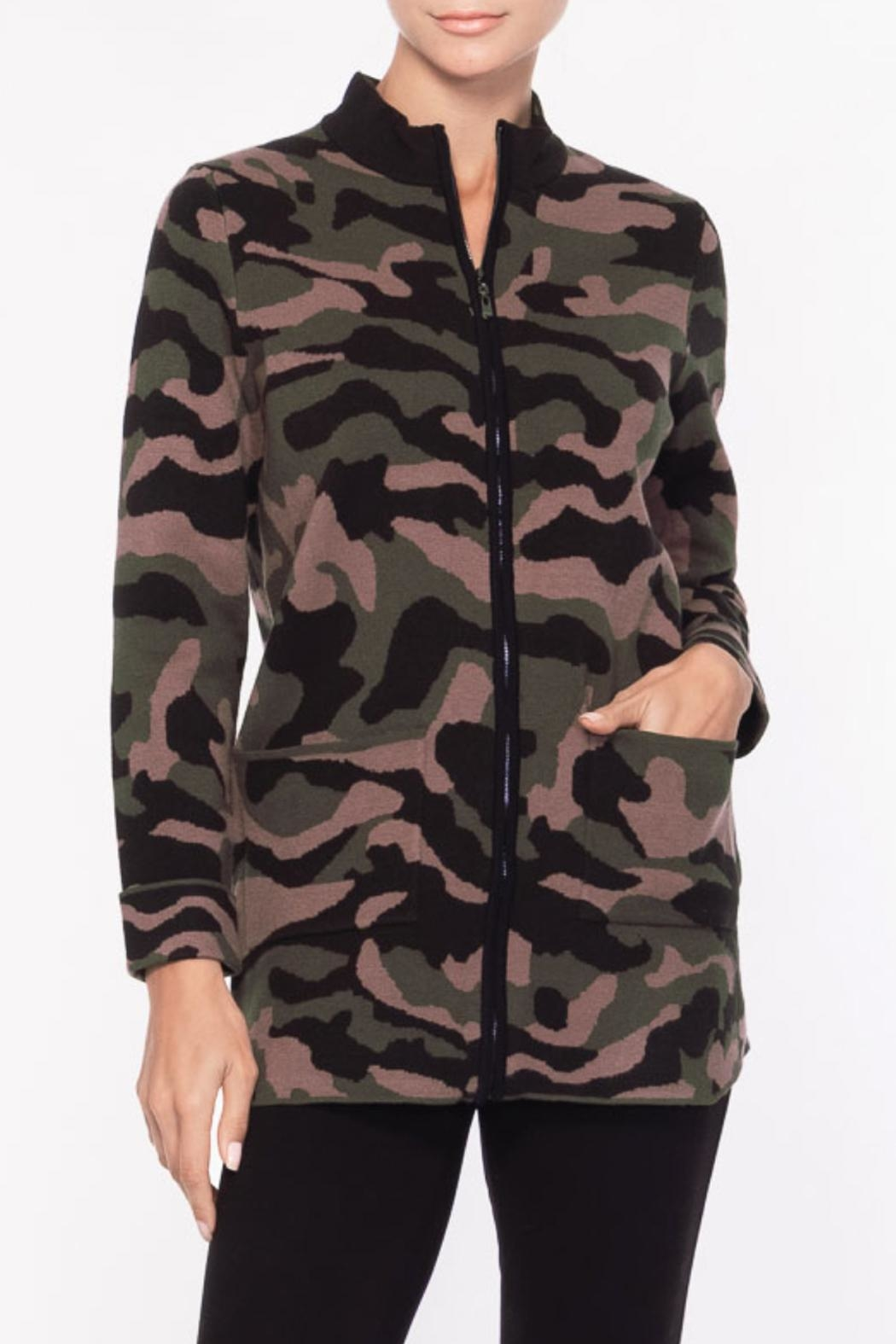 Alison Sheri Camo Zippered Sweater - Front Cropped Image