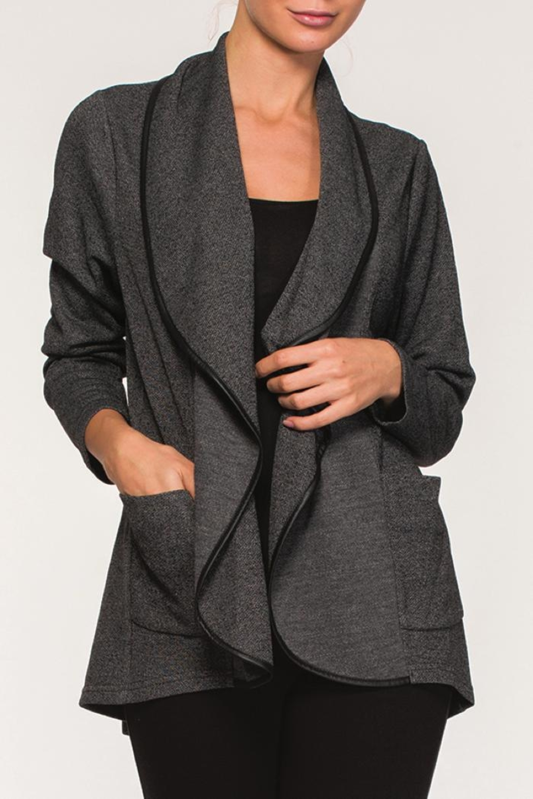 Alison Sheri Charcoal Jacket - Front Cropped Image