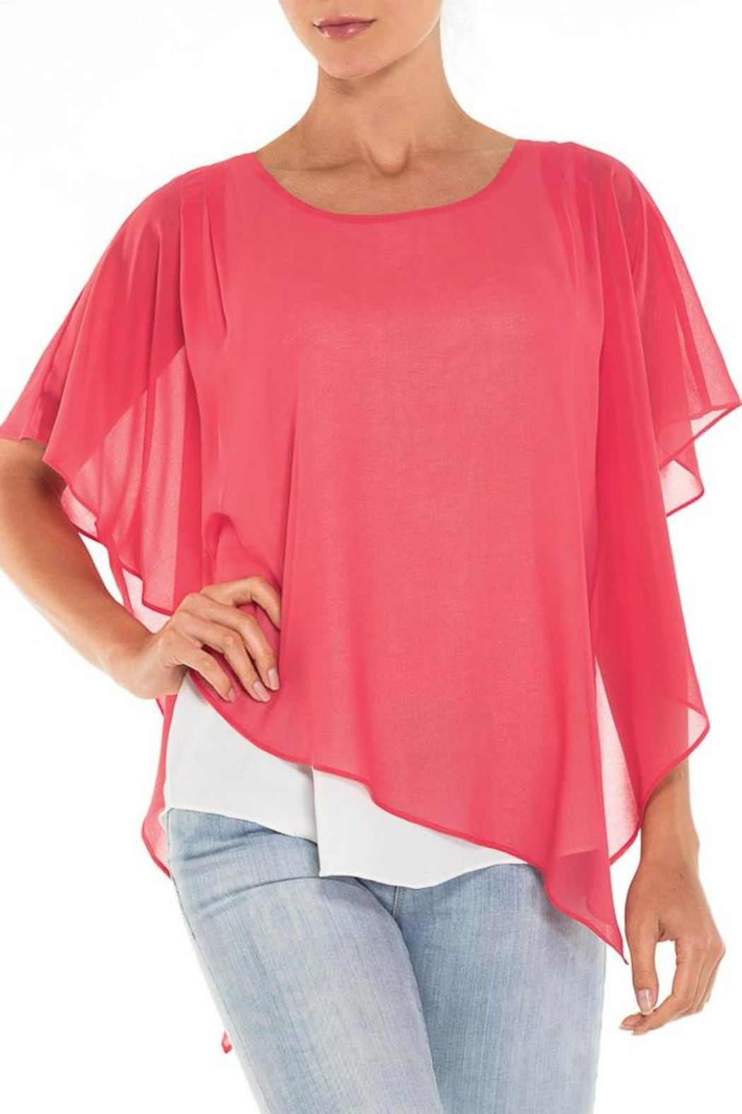 Alison Sheri Coral Shawl Top - Front Cropped Image