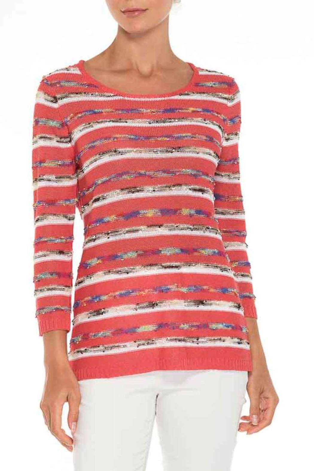 Alison Sheri Coral Stripe  Knit - Front Cropped Image