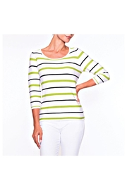Alison Sheri Lime Stripe Sweater - Front cropped