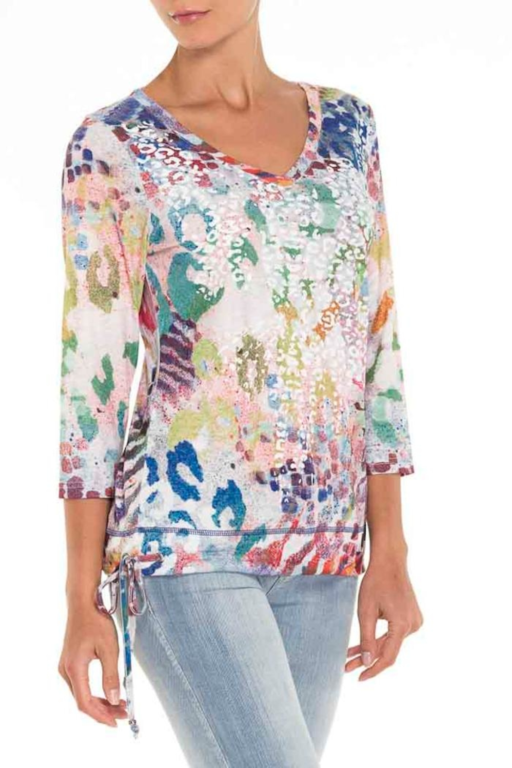 Alison Sheri Multi Print Top - Front Cropped Image