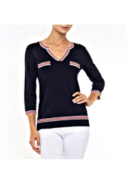 Alison Sheri Navy Nautical Sweater - Front cropped