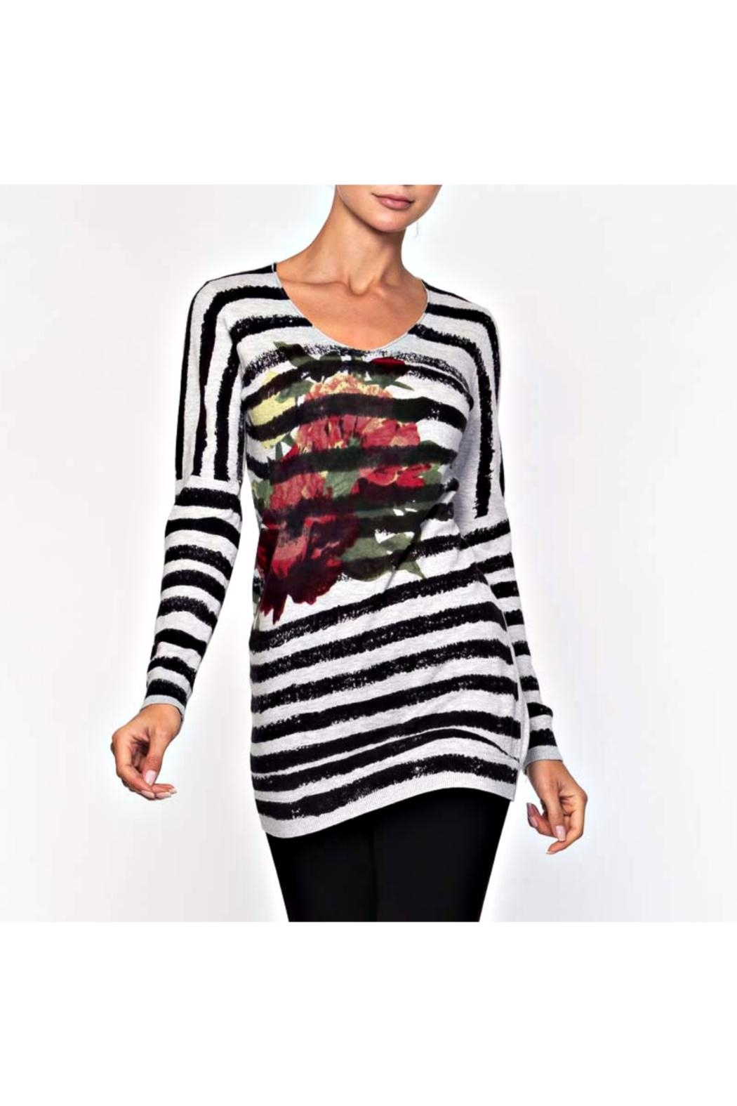 Alison Sheri Striped Floral Sweater - Main Image