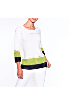 Alison Sheri White/lime/navy Sweater - Alternate List Image