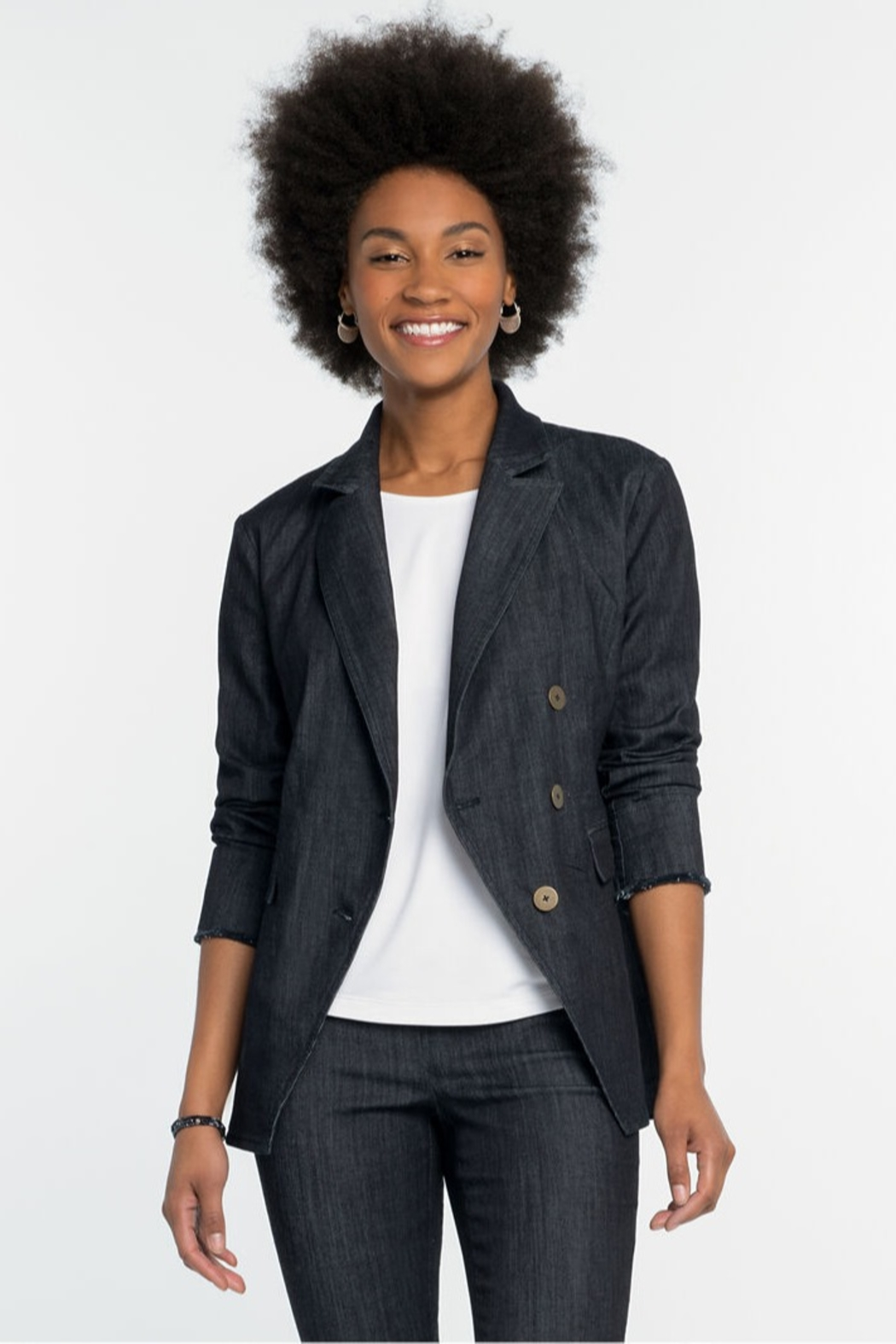 Nic + Zoe All Day Denim Jacket, Midnight Wash - Front Cropped Image