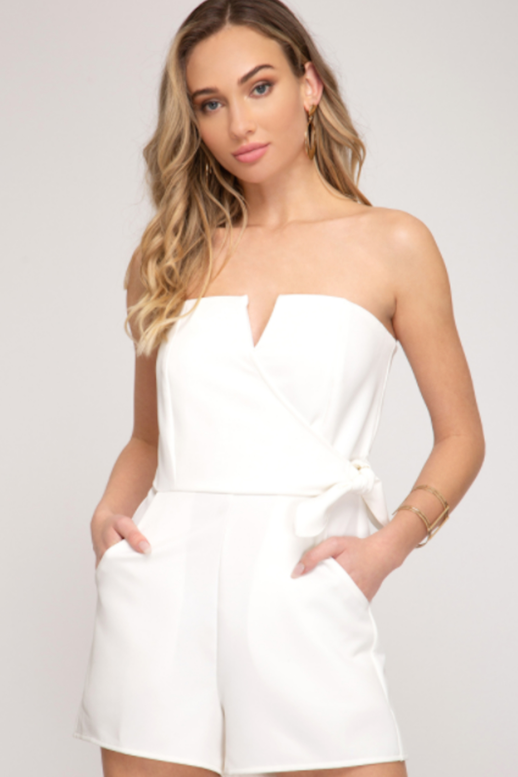 She and Sky All Dressed In White Romper - Main Image