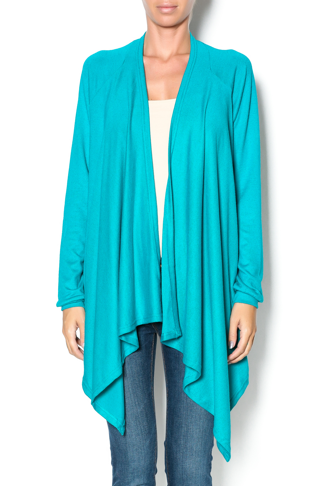 All For Color Teal Waterfall Cardigan from New York by Ruffles ...