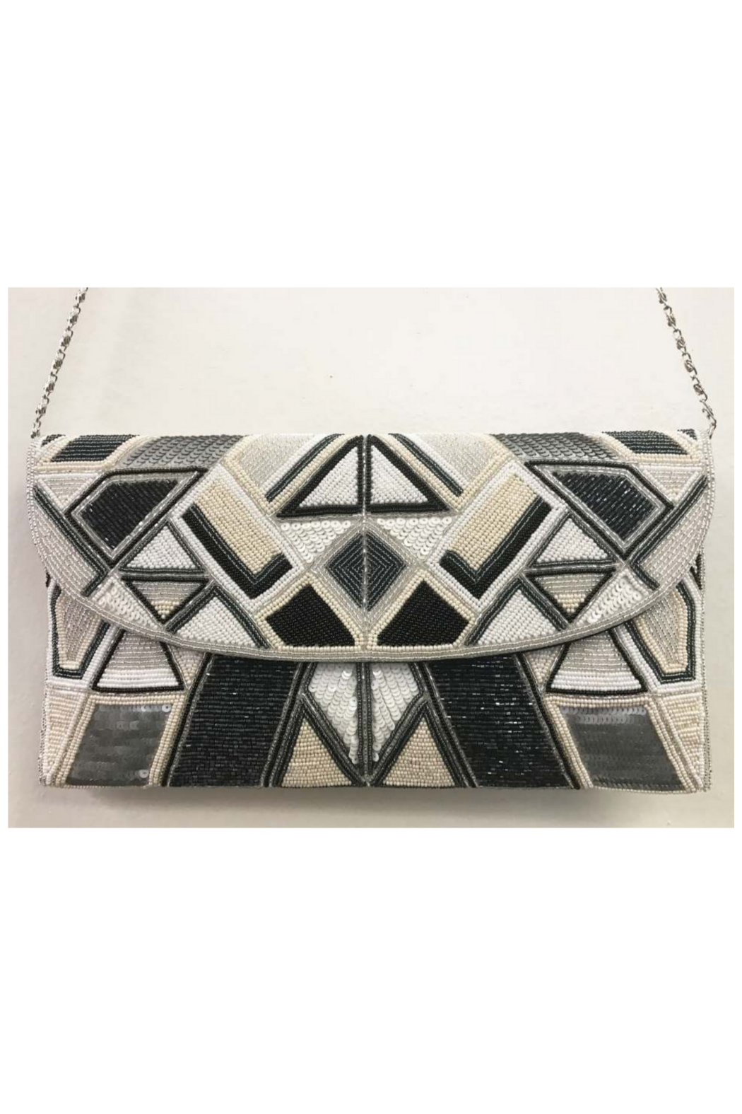 Ricki Designs All Geo. Beaded Multi Color Large Clutch - Front Cropped Image
