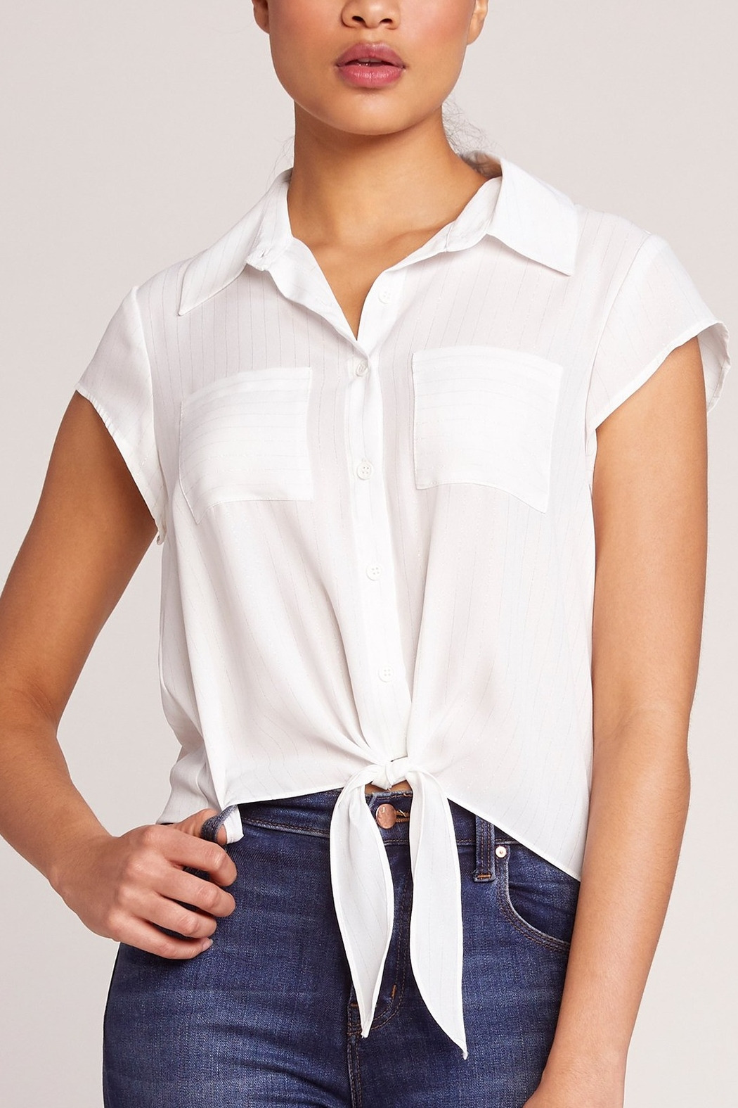 JACK DAKOTA All Lined Up Tie Blouse - Main Image