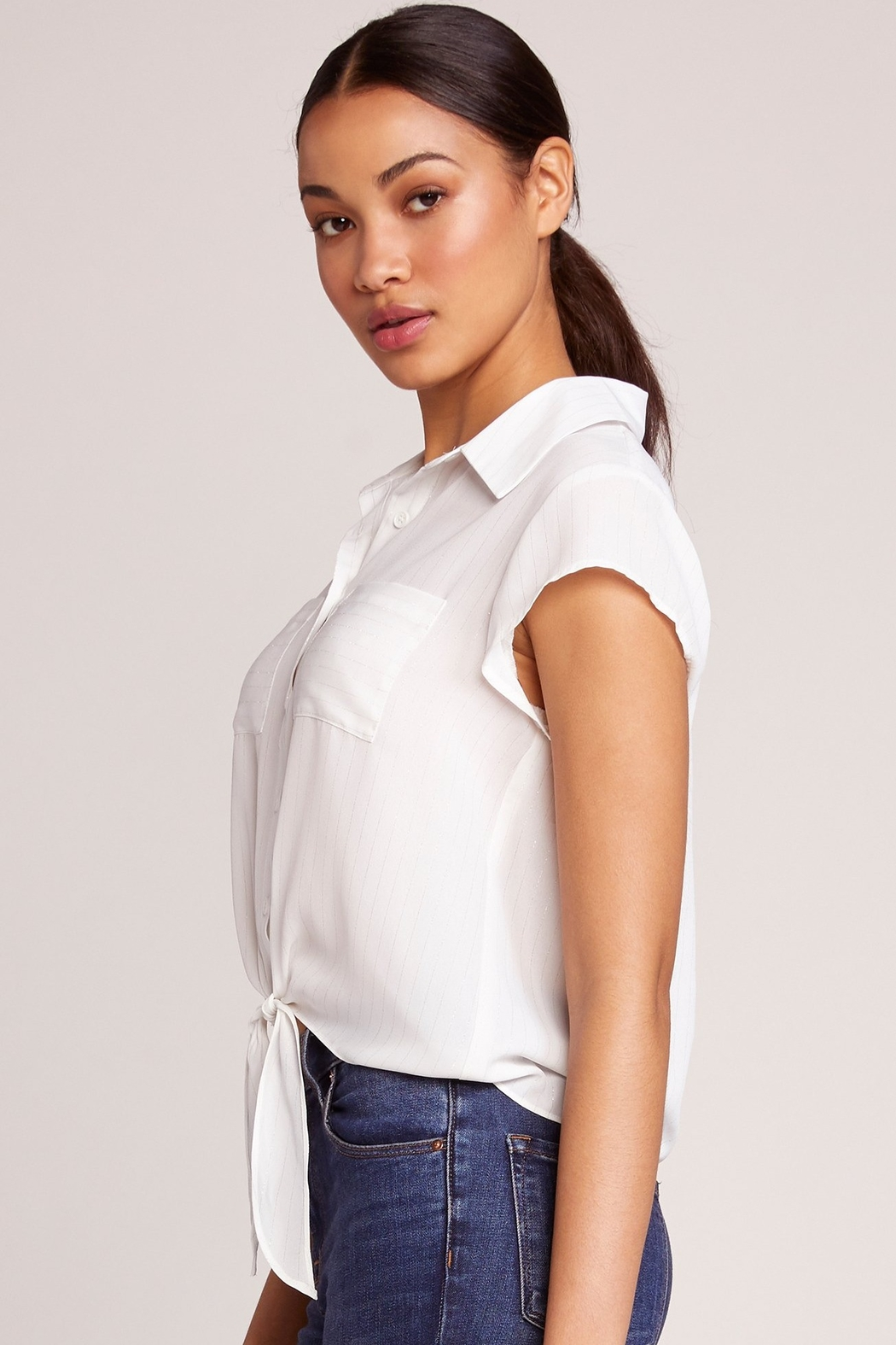 JACK DAKOTA All Lined Up Tie Blouse - Front Full Image