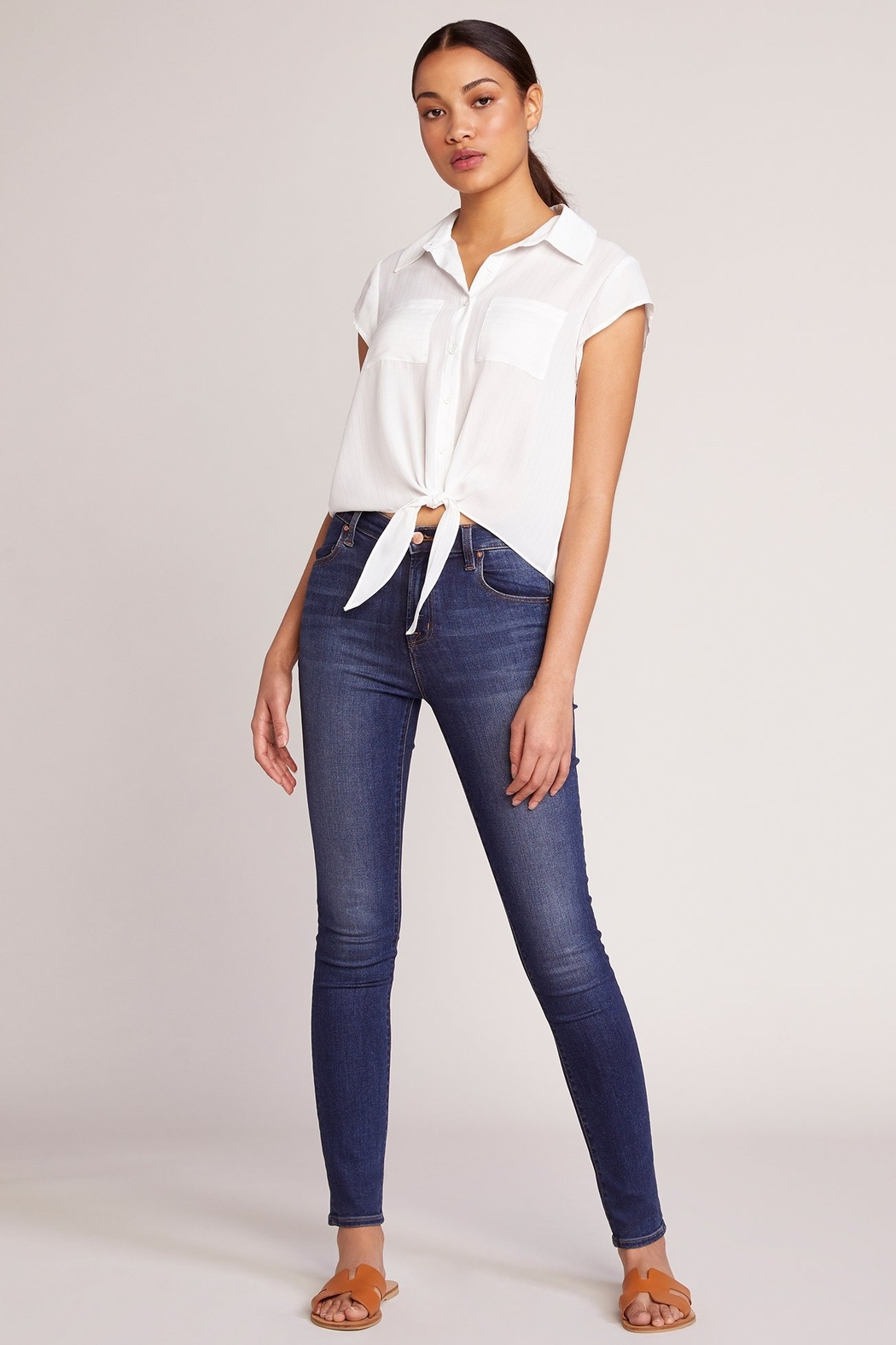 JACK DAKOTA All Lined Up Tie Blouse - Side Cropped Image