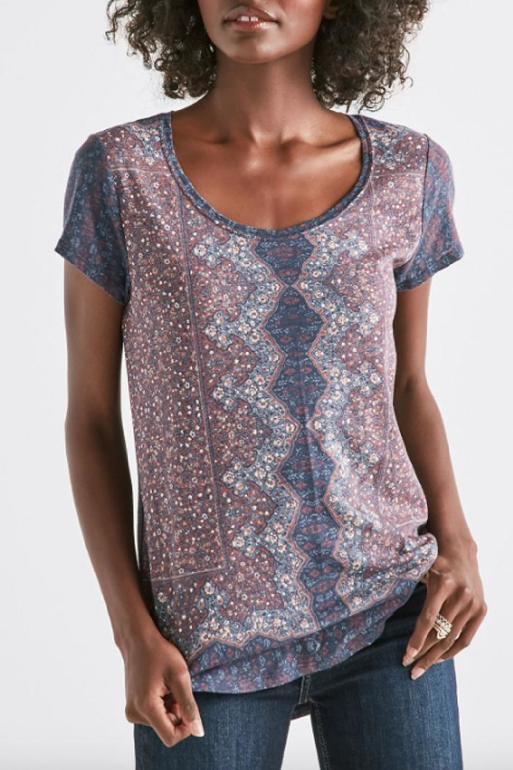 Lucky Brand All-Over Print Tee - Front Cropped Image