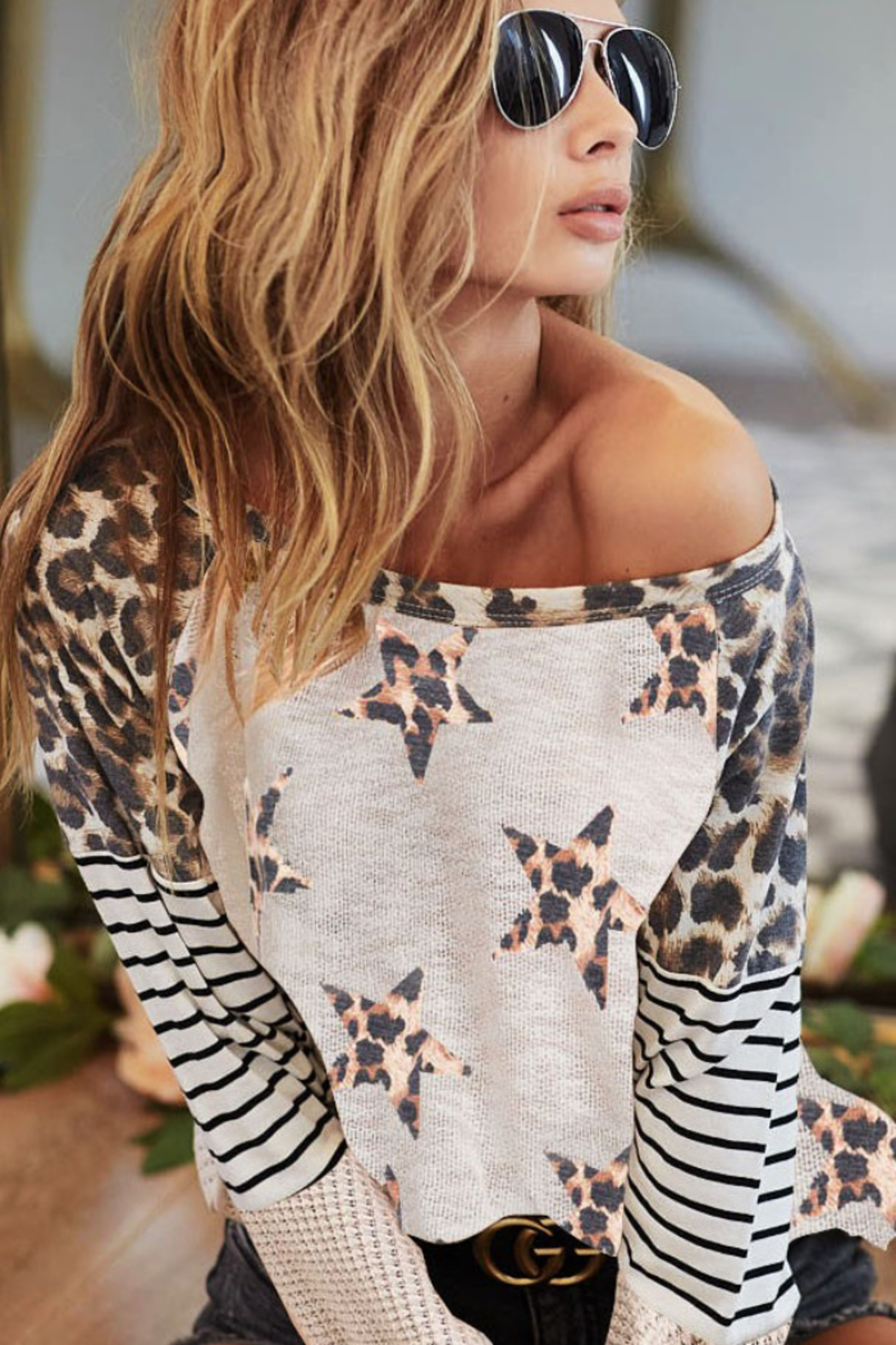 Bibi ALL OVER STAR LEOPARD PRINT LOW GAUGE TOP - Main Image
