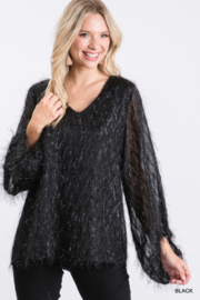 Jodifl All Over Tinsel Fringe Bubble Sleeve Top - Product Mini Image
