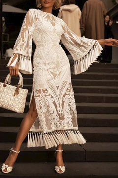 Racine All-White Lace Maxi-Dress - Alternate List Image