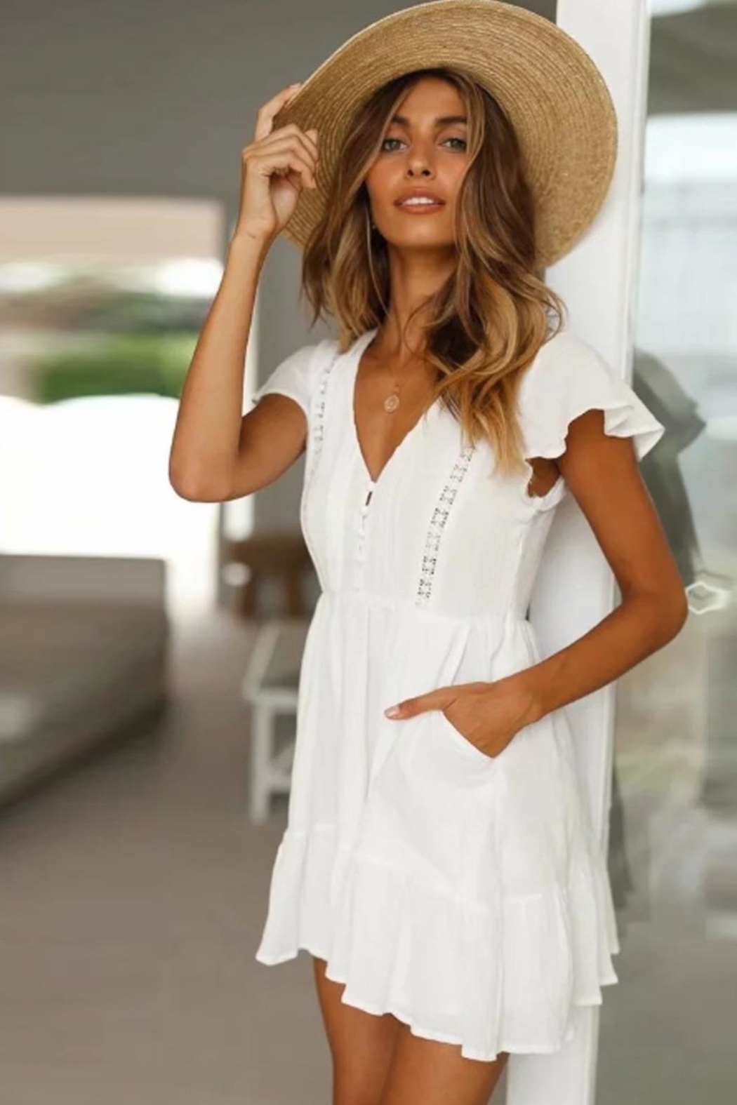 Racine All-White Mini Dress - Main Image