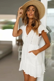 Racine All-White Mini Dress - Front cropped