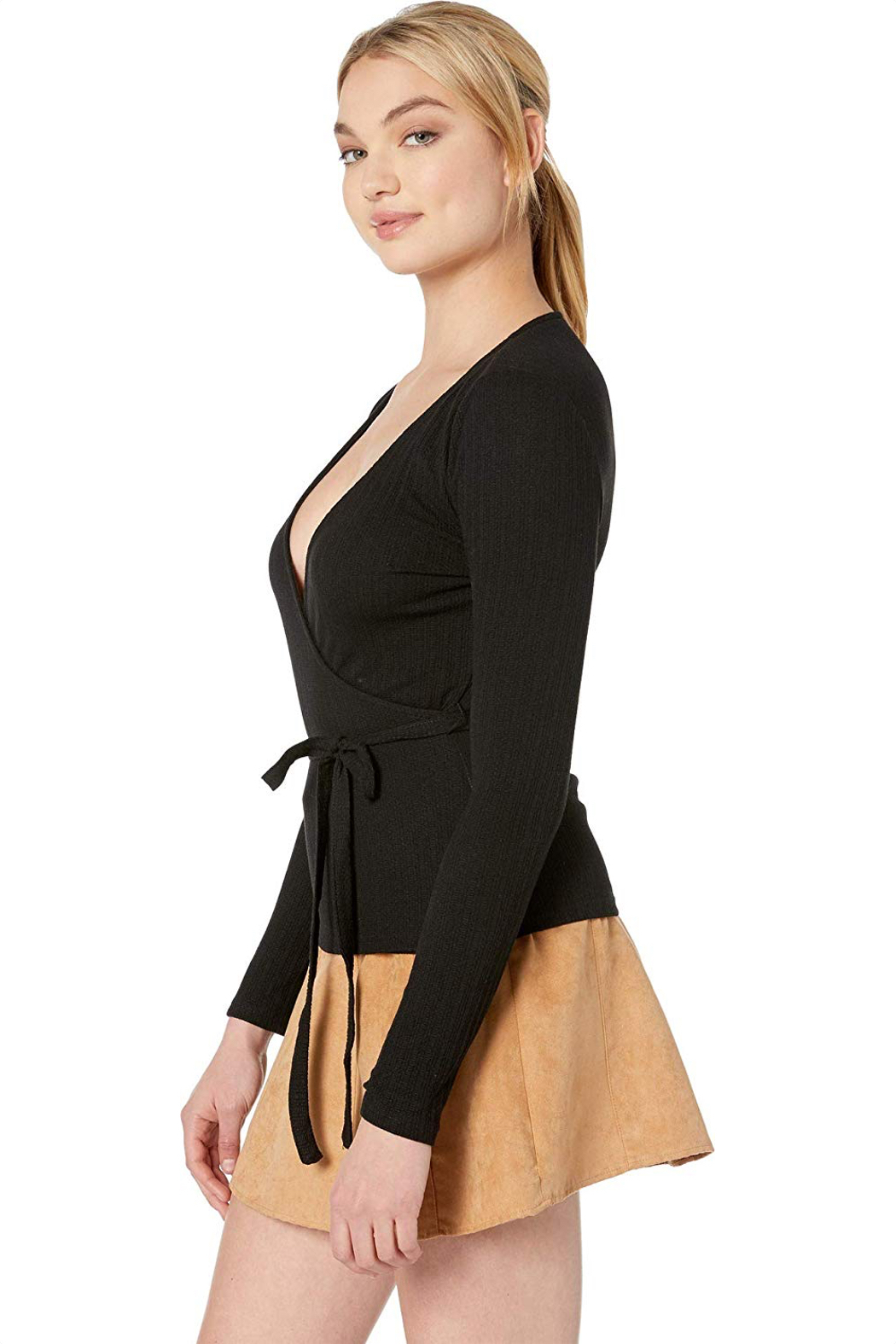 MINKPINK All Wrapped Up Surplice Top - Front Full Image