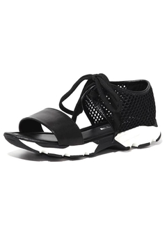All Black Banded Mesh Sandal - Alternate List Image
