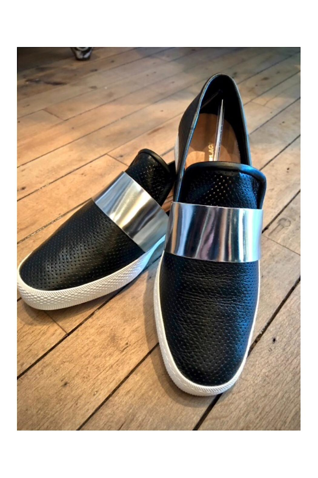 All Black Banded Pindot Sneakers - Front Full Image