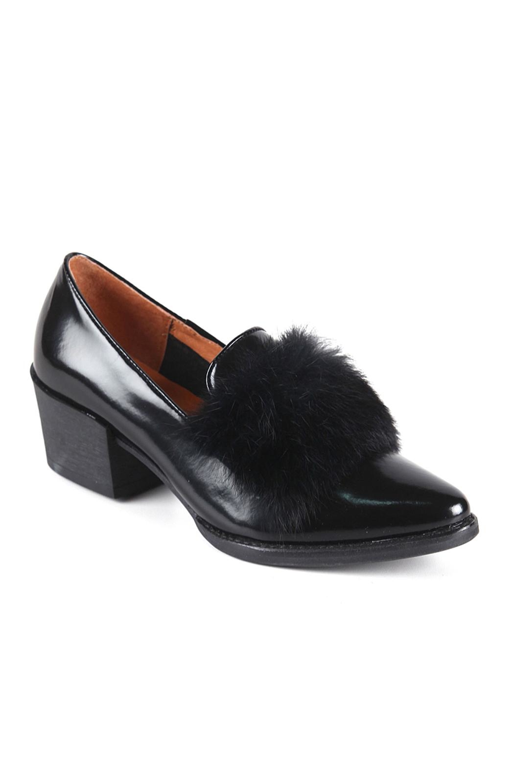 All Black Muff Kid Loafer - Front Full Image