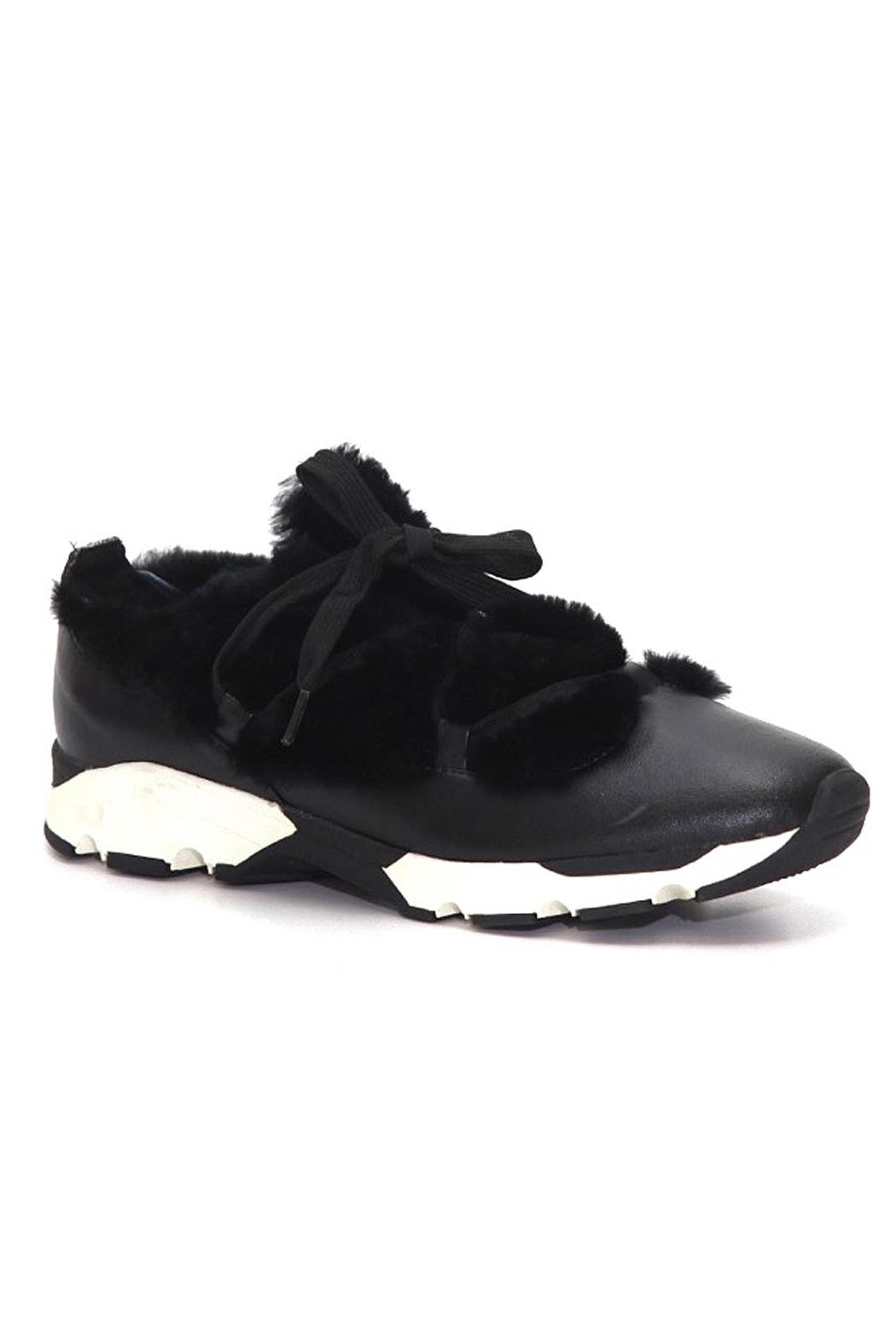 All Black Furry Leather Sneaker - Front Full Image