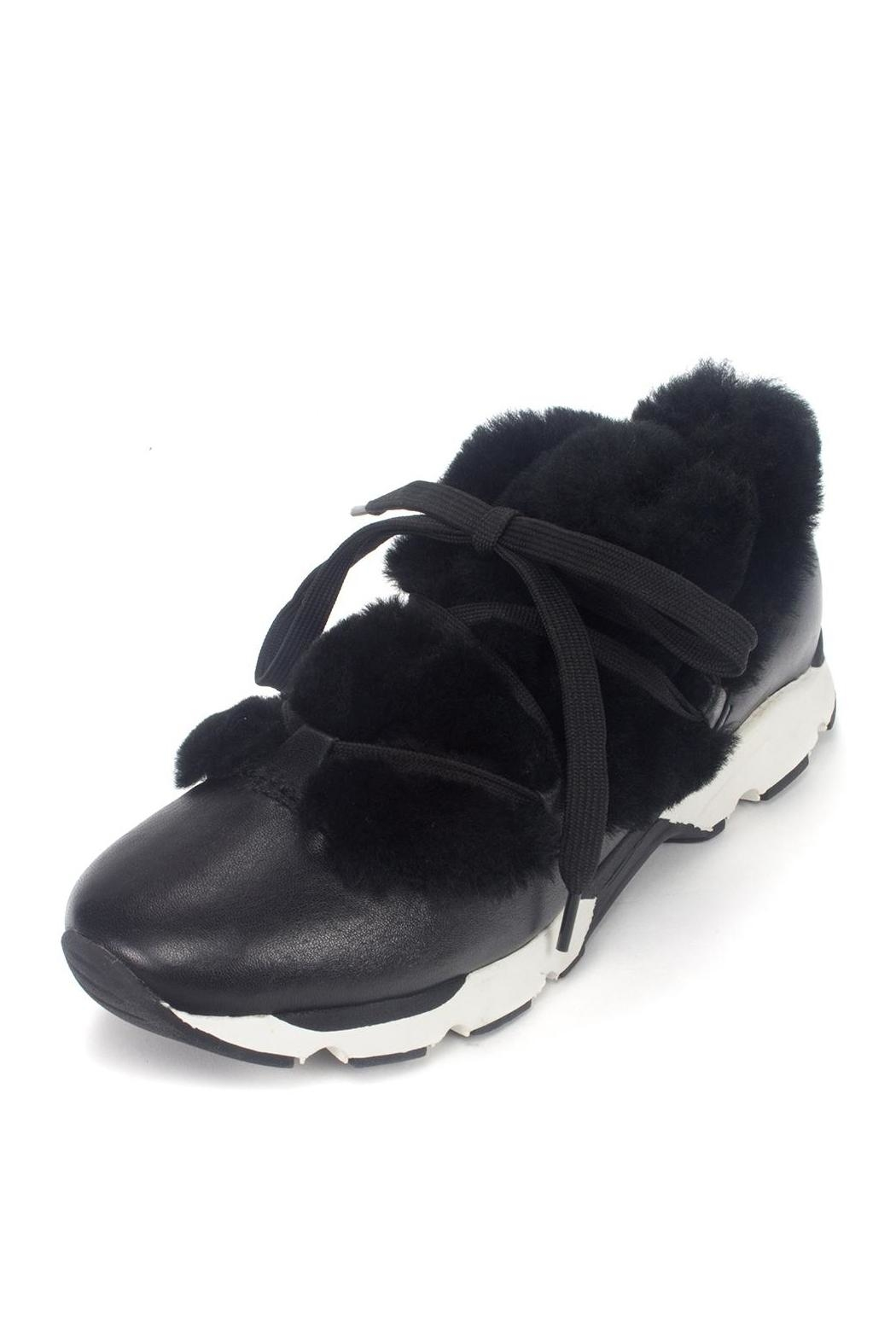All Black Furry Leather Sneaker - Side Cropped Image