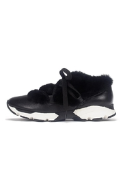 All Black Furry Leather Sneaker - Front cropped