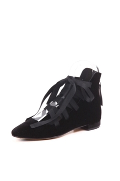 All Black Lace-Up Ballet Flats - Product List Image