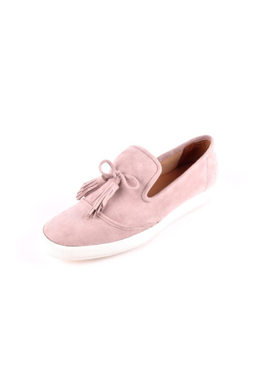 All Black Pink Suede-Tassel Sneakers - Front Cropped Image