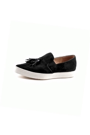 All Black Suede. Tassel Sneakers - Front cropped