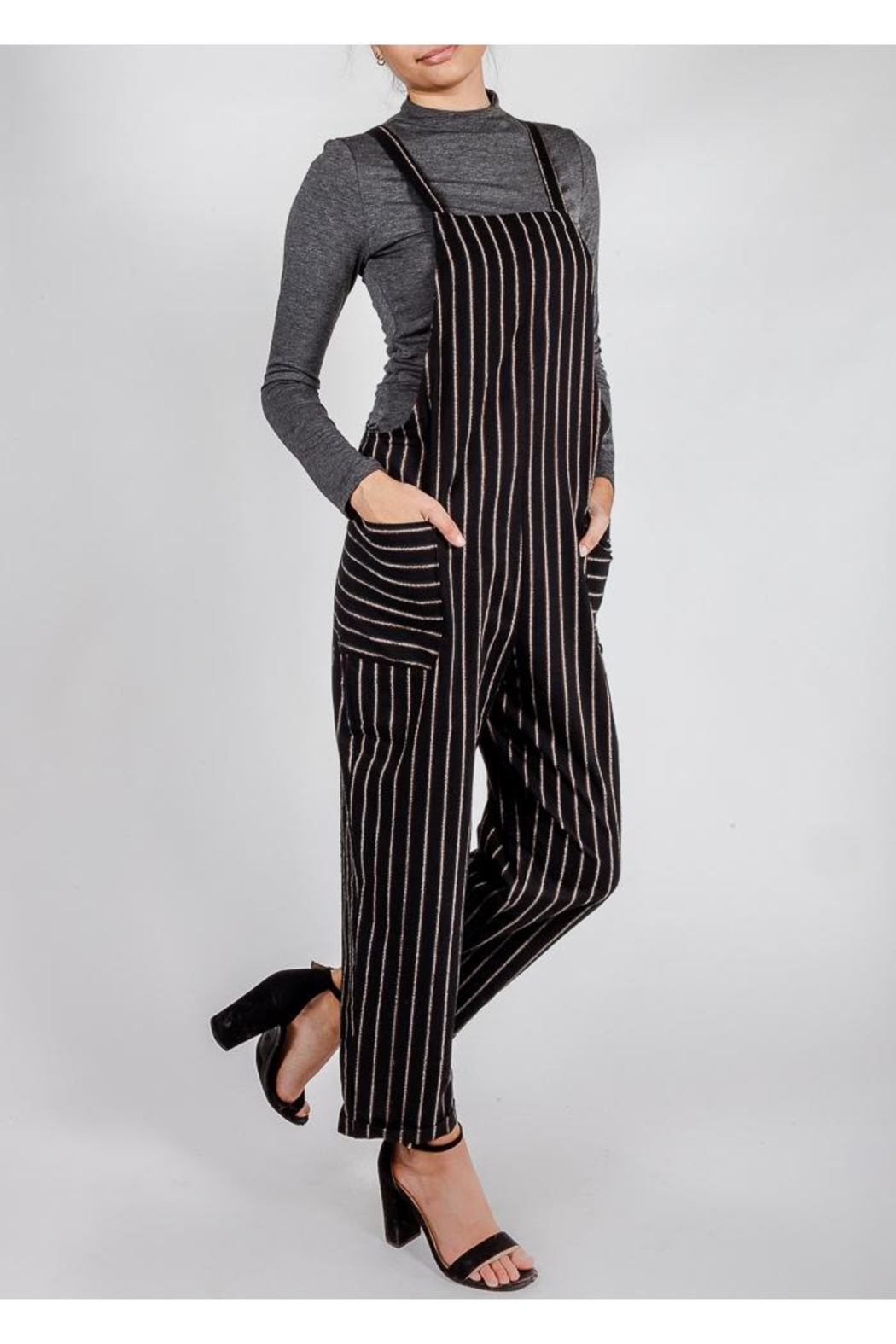 All In Favor Black Striped Slouchy-Overalls - Side Cropped Image