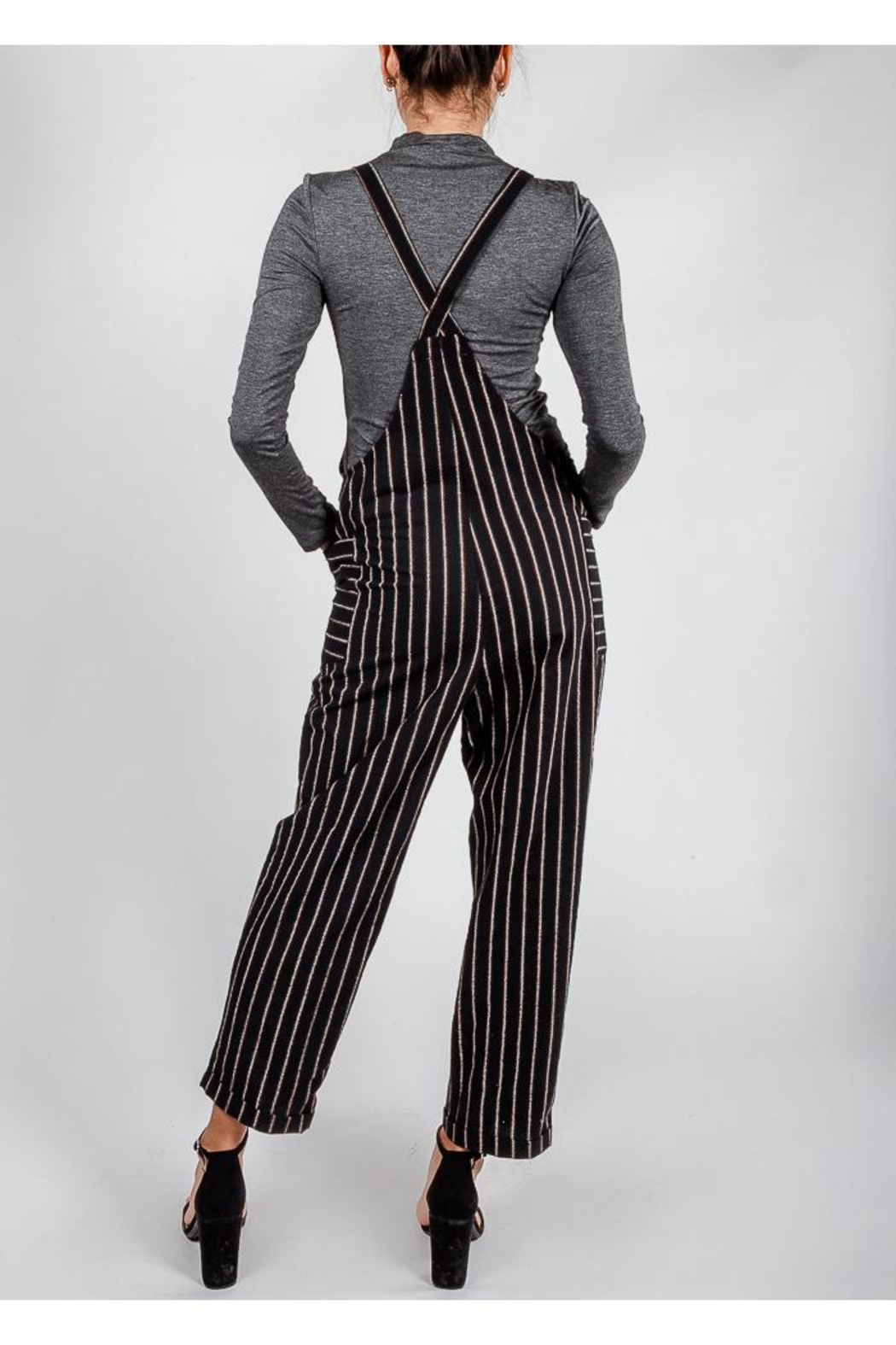 All In Favor Black Striped Slouchy-Overalls - Back Cropped Image