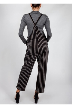 All In Favor Black Striped Slouchy-Overalls - Alternate List Image