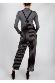 All In Favor Black Striped Slouchy-Overalls - Back cropped