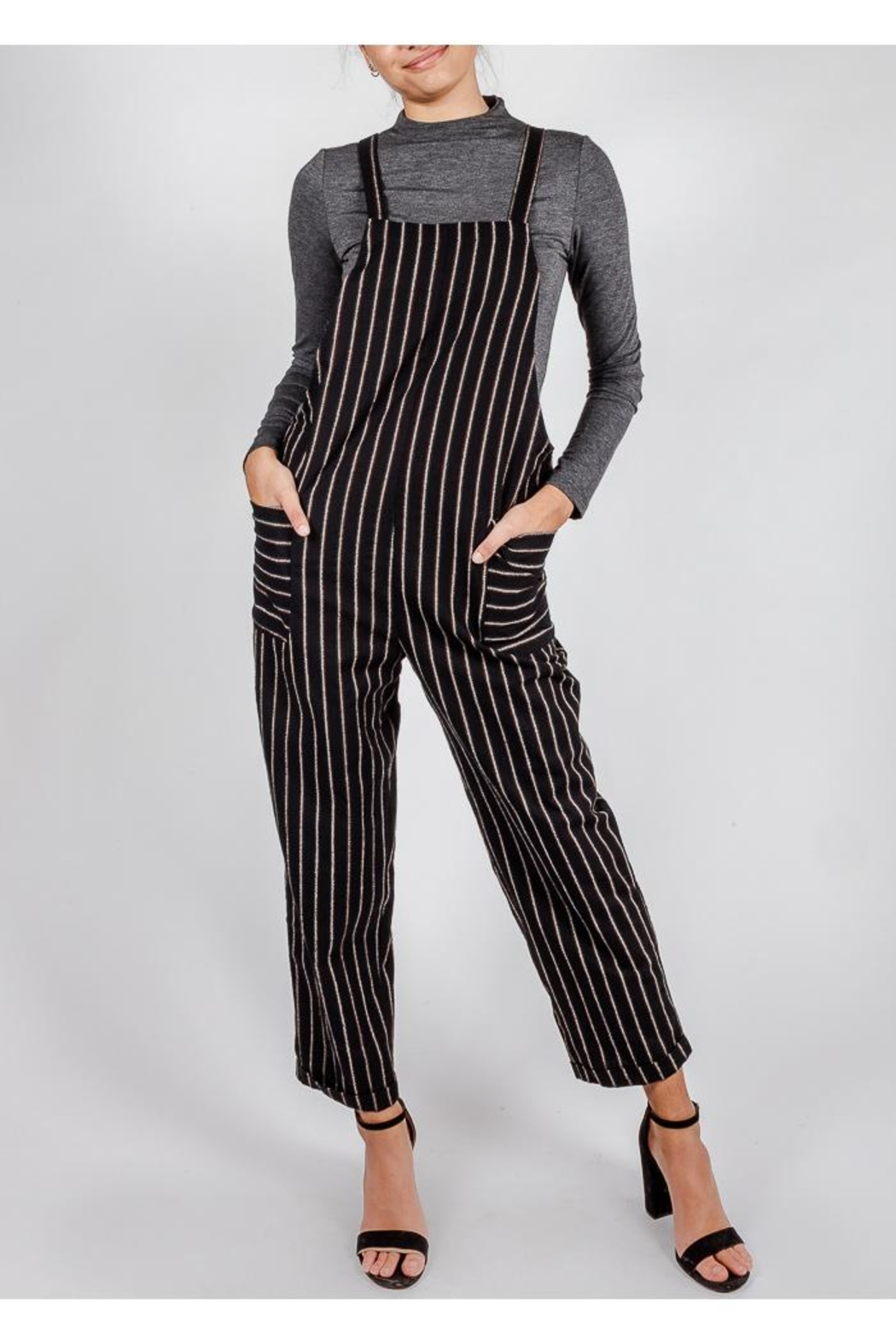 All In Favor Black Striped Slouchy-Overalls - Front Full Image