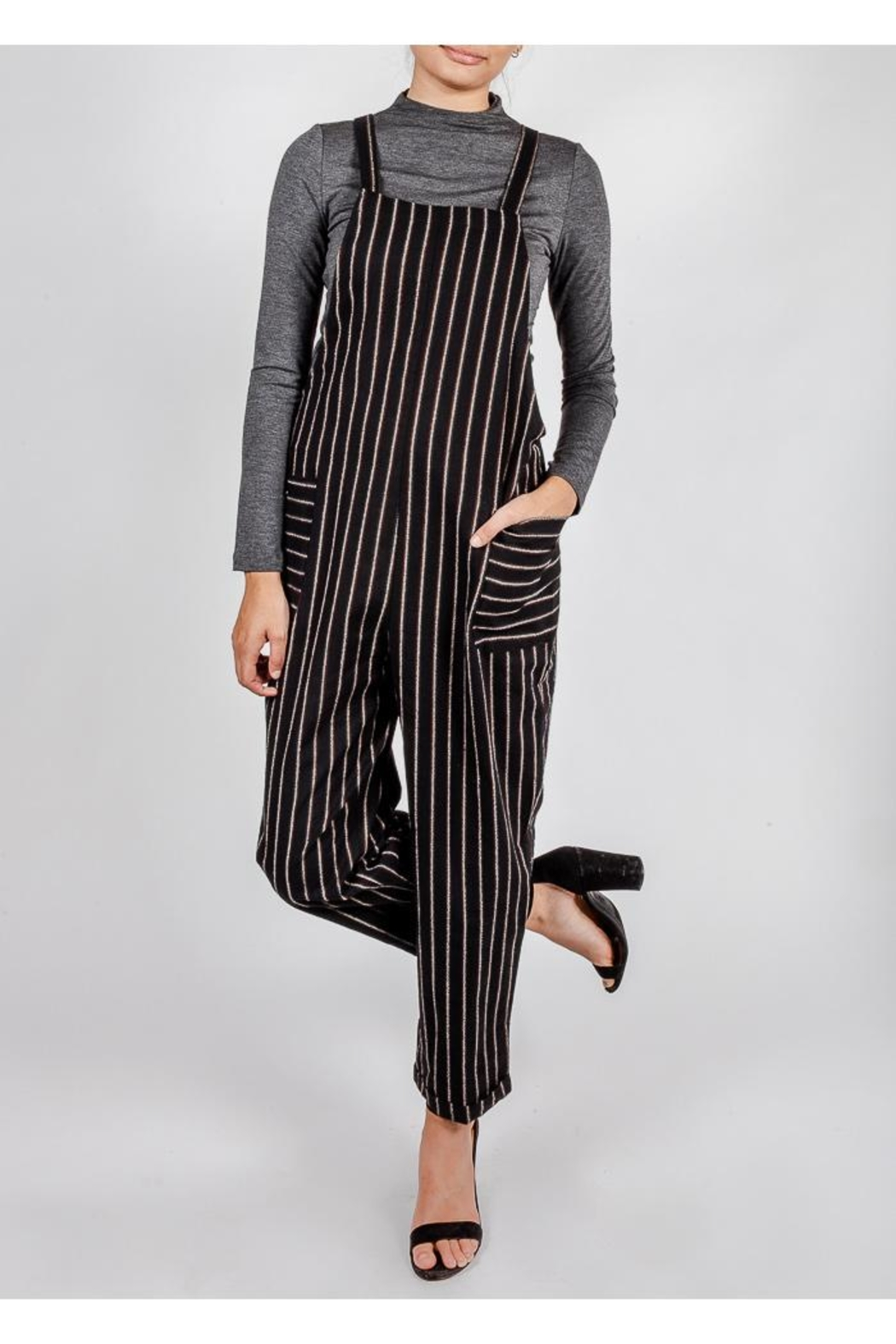 All In Favor Black Striped Slouchy-Overalls - Main Image