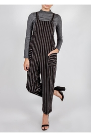 All In Favor Black Striped Slouchy-Overalls - Front cropped