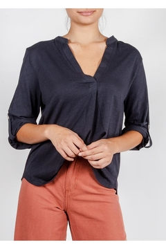 All In Favor Cotton Roll-Sleeve Top - Product List Image